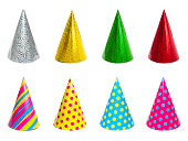 Group of different colorful party hats isolated on white background