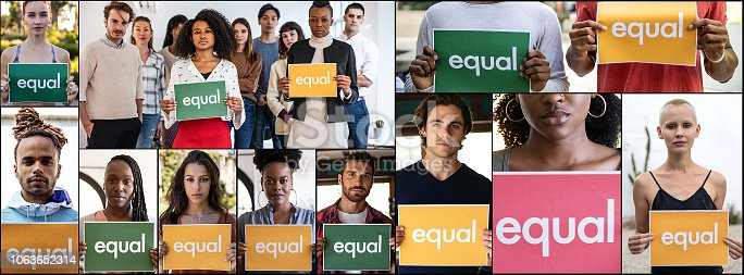 Group of different ethnicities people standing for equal rights and justice.