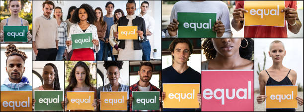 group of different ethnicities people standing for equal rights and justice - womens day stock photos and pictures