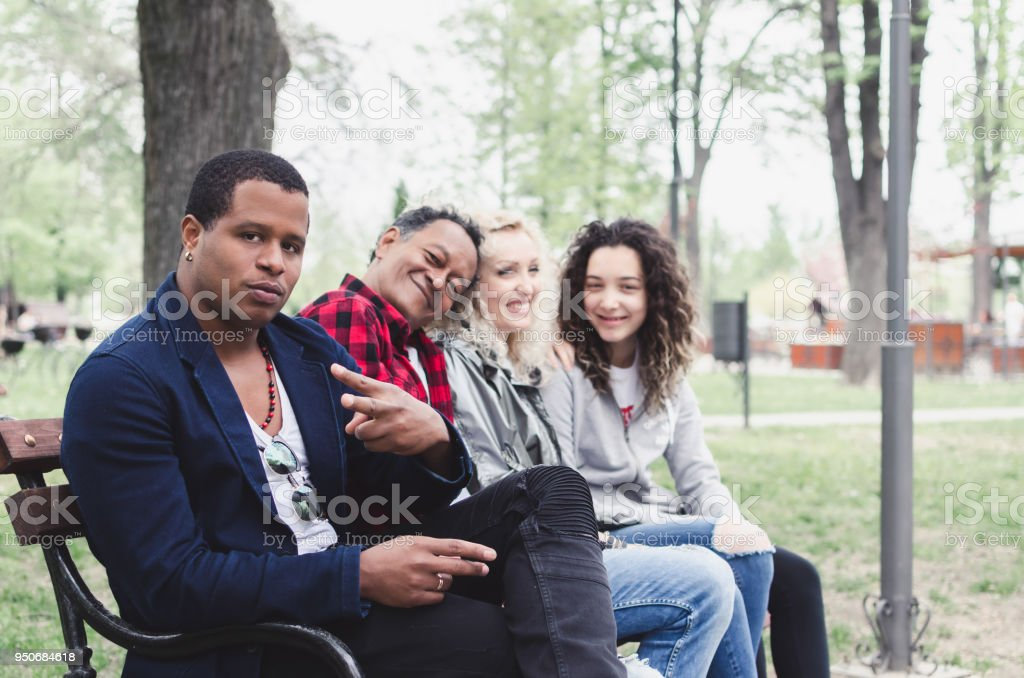 Group of different families together of all races stock photo