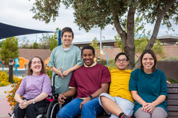 A group of disabled people stock photo