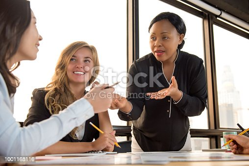 541975802 istock photo Group of diverse businesswomen discussing work in the meeting 1001168116