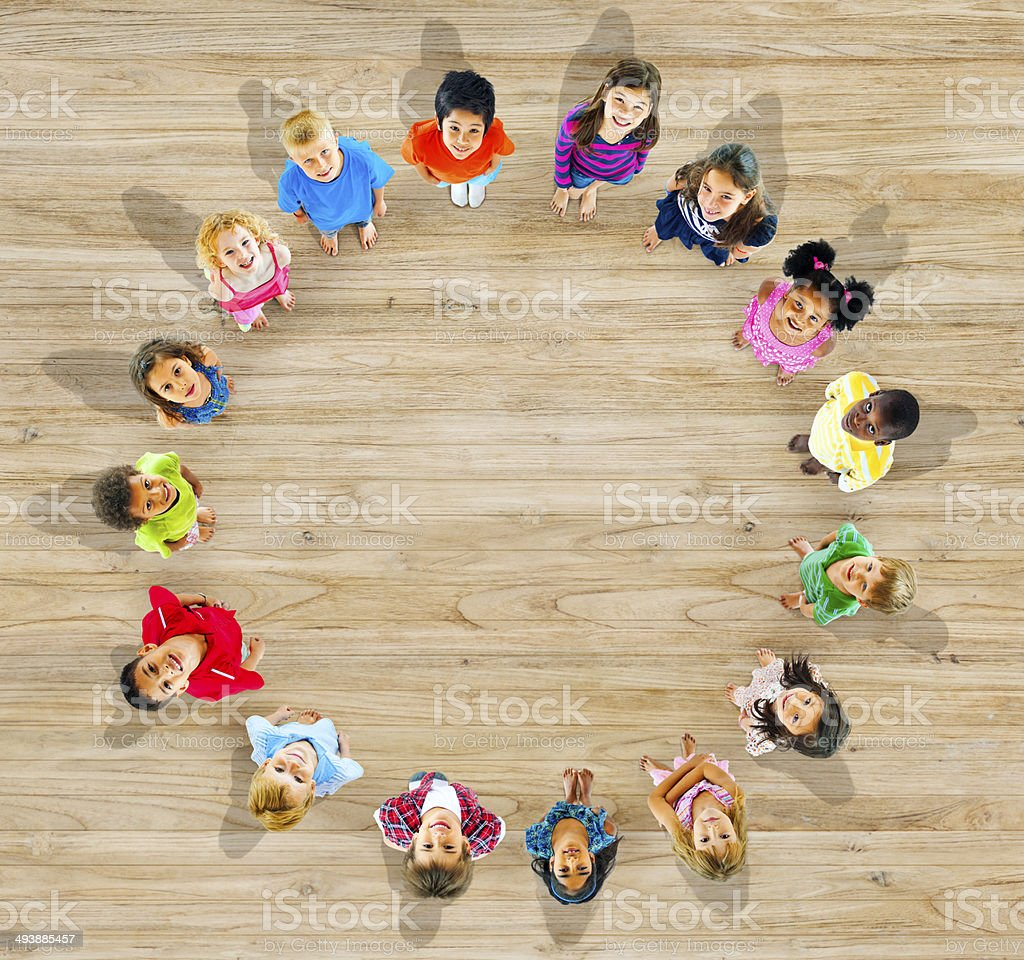 Group of Diverse Children Looking Up stock photo