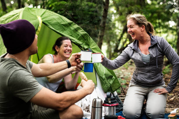 group of diverse friends camping in the forest - camping imagens e fotografias de stock