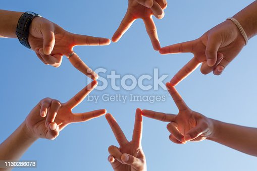 istock Group of Diverse Hands Together Joining,Team Work Concept 1130286073