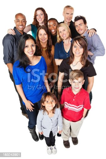 istock Group of Diverse Happy People Looking Up, Full Body 183243901