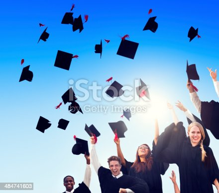 istock Group Of Diverse International Student Celebrating Their Graduat 484741603