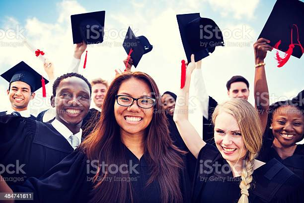 Group Of Diverse International Students Celebrating Graduation Stock Photo - Download Image Now