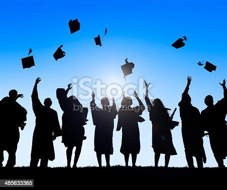 istock Group Of Diverse International Students Celebrating Graduation 485633365