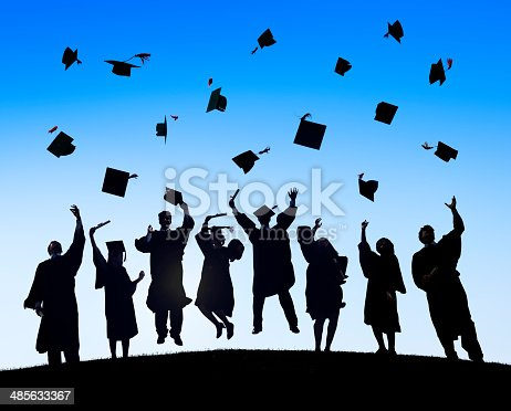 istock Group Of Diverse International Students Celebrating Graduation 485633367