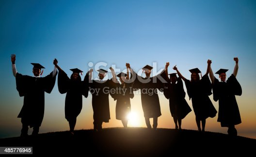 istock Group Of Diverse International Students Celebrating Graduation 485776945