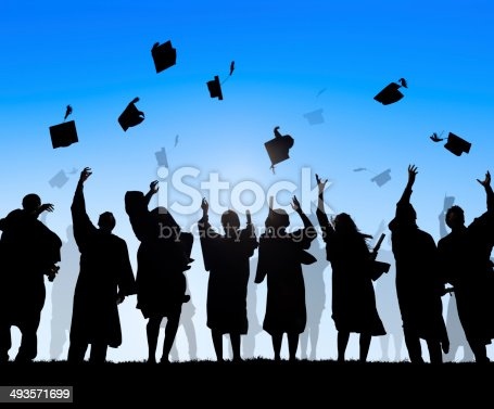 istock Group Of Diverse International Students Celebrating Graduation 493571699