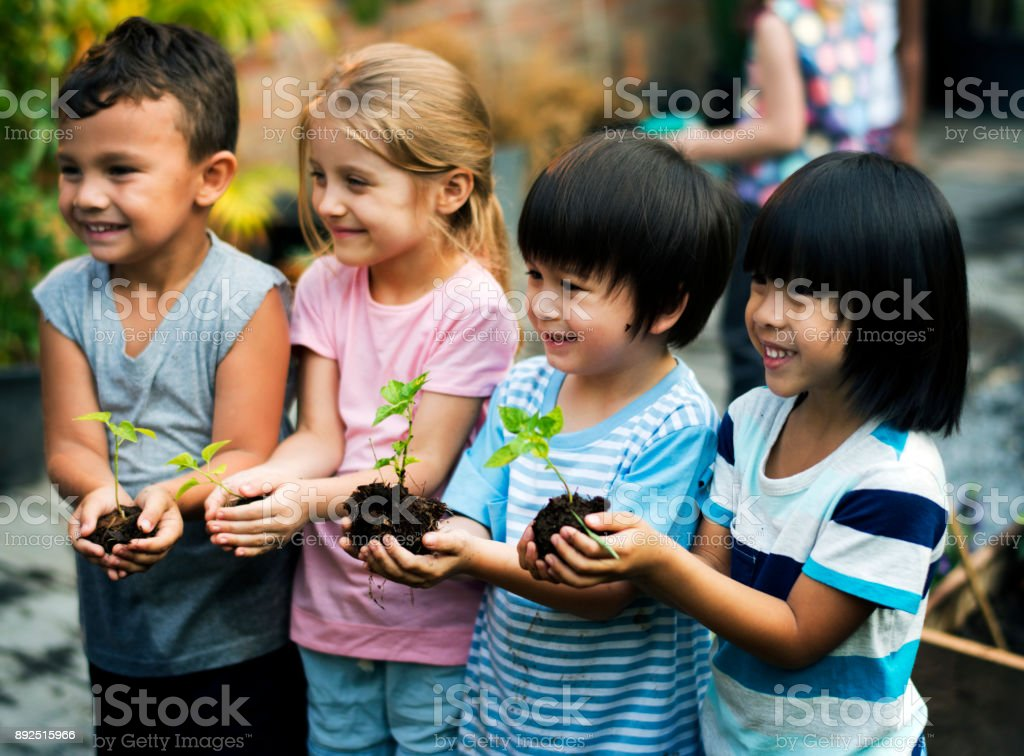 Group of diverse kids holding plants stock photo