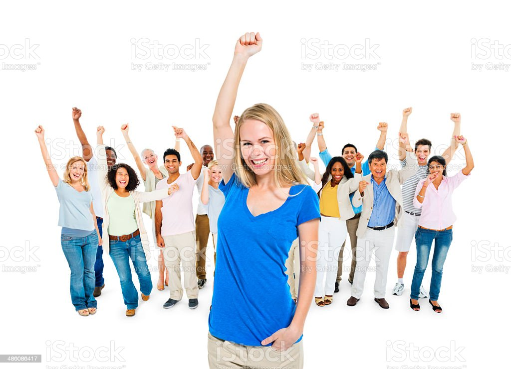 Group of Diverse Multi Ethnic Cheerful People Celebrating stock photo