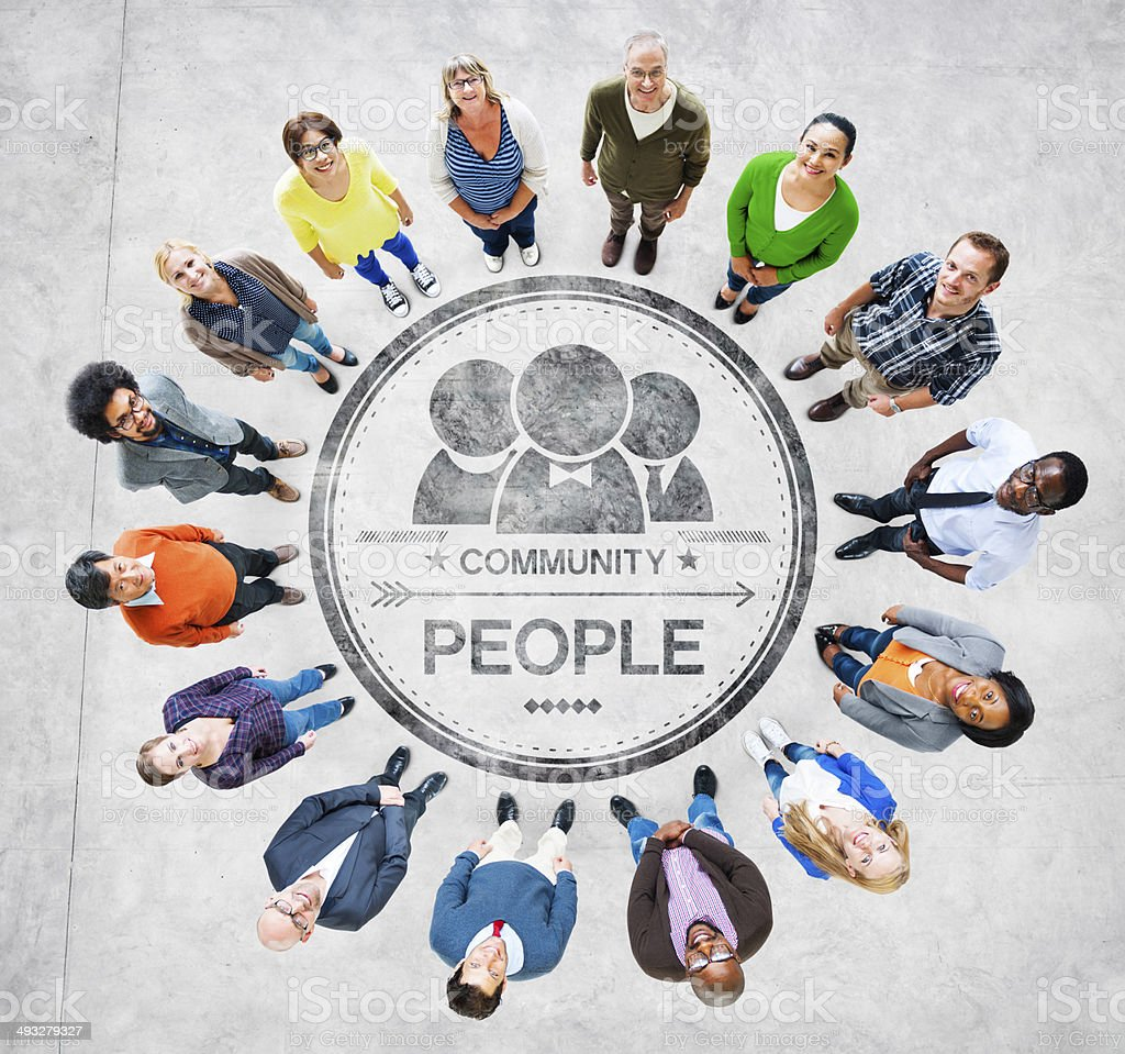 Group of Diverse Multiethnic People Forming a Circle stock photo