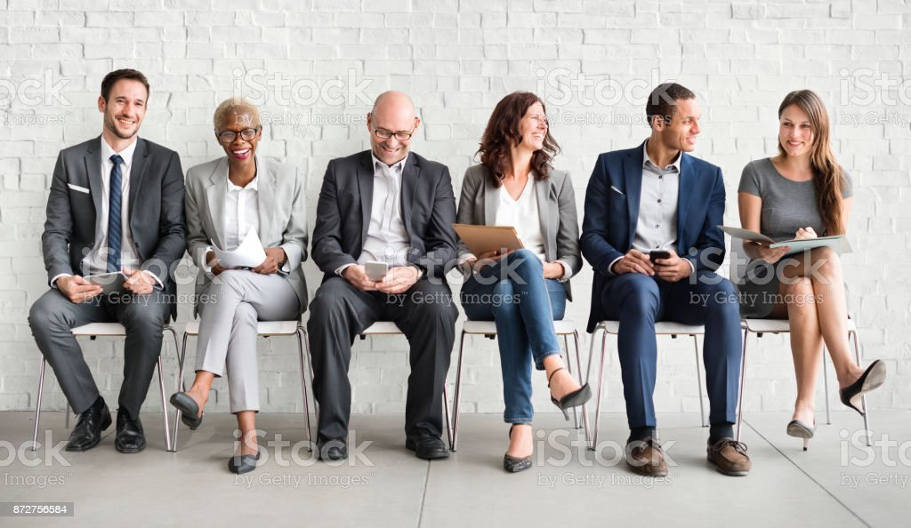 Group of diverse people are waiting for a job interview stock photo