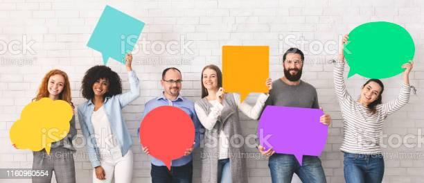Group of diverse people holding colorful speech bubbles picture id1160960554?b=1&k=6&m=1160960554&s=612x612&h=hsnk8gjjyigpykf xzdvpp14lyhgfrauobook3aj6lu=