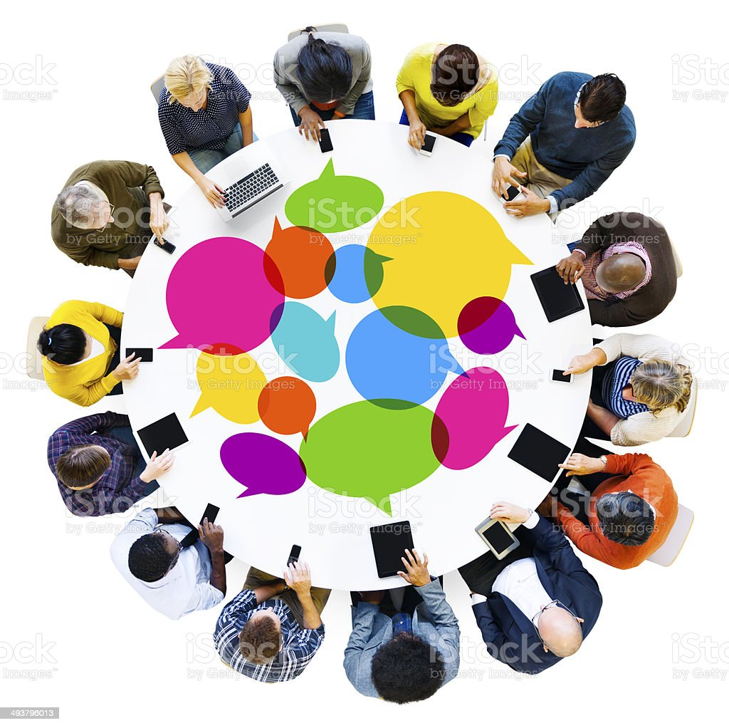Group of Diverse People Social Networking With Digital Devices stock photo