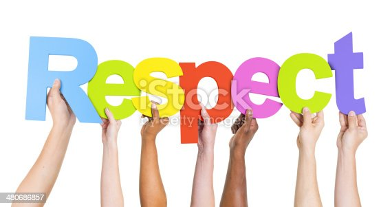 istock Group of Diverse People's Hands Holding Word Respect 480686857