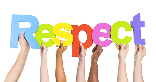 Group of Diverse People's Hands Holding Word Respect  dignity stock pictures, royalty-free photos & images