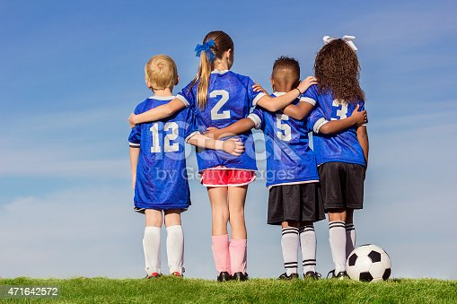 istock Group of Diverse young recreation soccer players 471642572