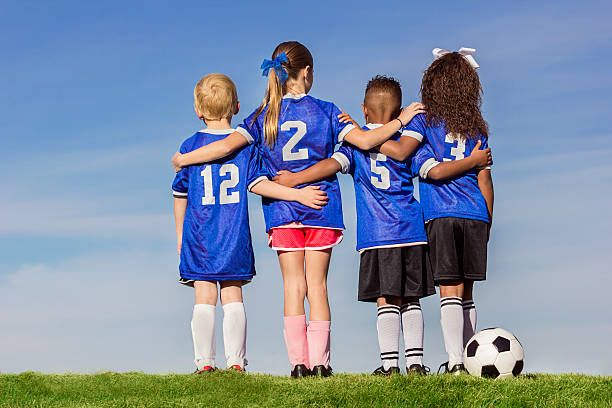 Group of Diverse young recreation soccer players stock photo