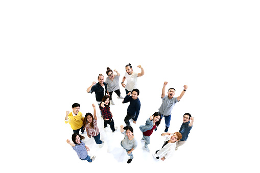istock Group of Diversity People Team looking at camera with isolated white floor background. Creative teamwork feeling happy, enjoy and engage with achievement project with overhead aerial view concept. 1031261154