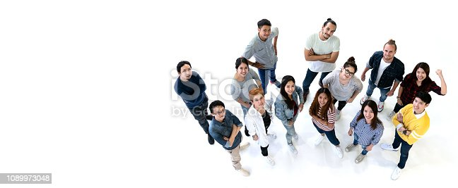 1094812112 istock photo Group of Diversity People Team smiling with top view. Ethnicity group of creative teamwork in casual happy lifestyle together with copy space. Different in staff generations concept Banner. 1089973048