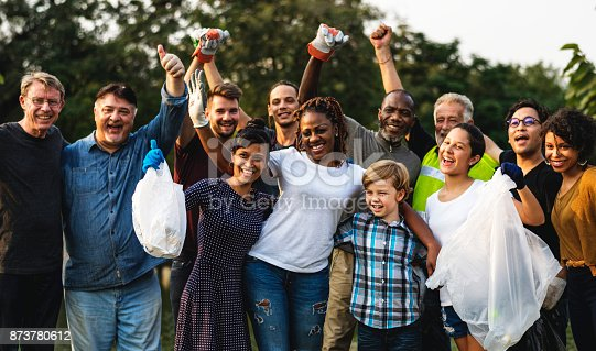 istock Group of diversity people volunteer charity project 873780612