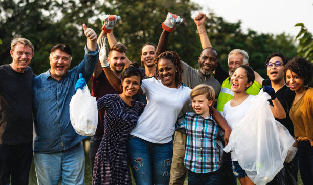 Group of diversity people volunteer charity project stock photo