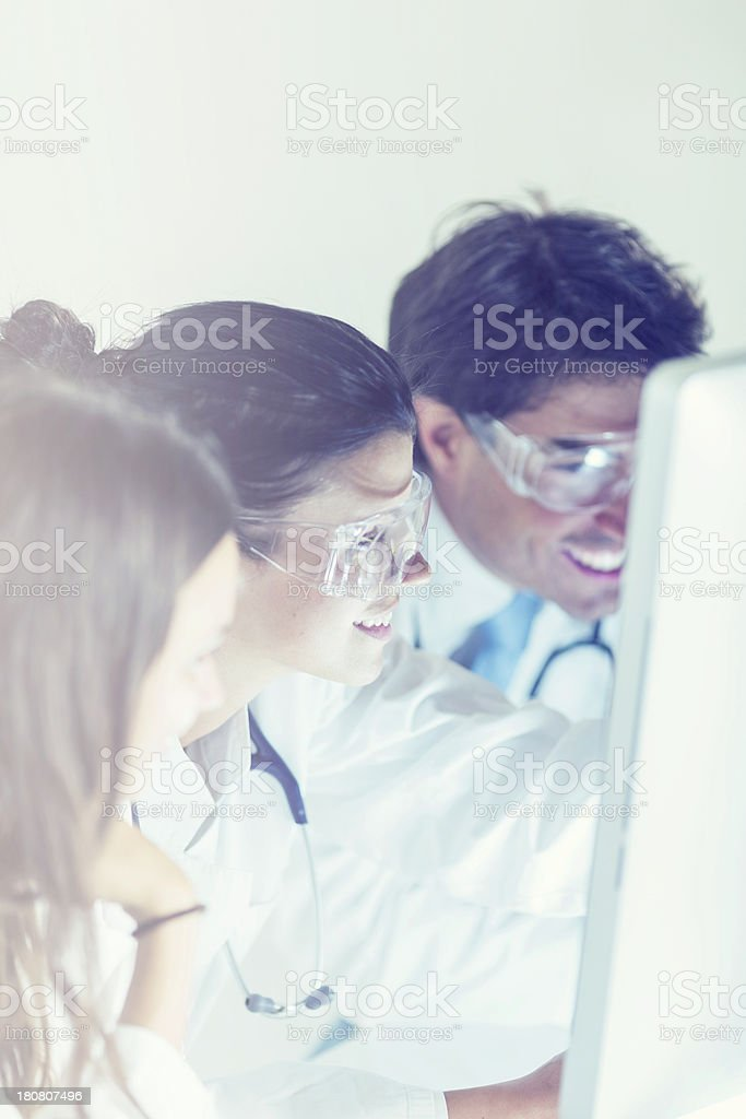 Group of doctors in the laboratory royalty-free stock photo