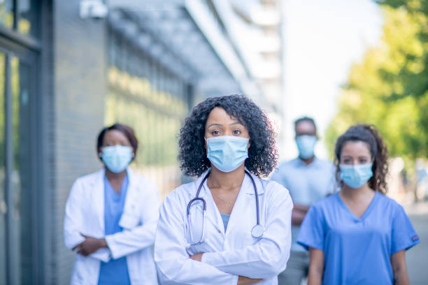 Group of doctors outside stock photo