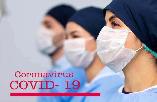 Gruppe von Ärzten tragen Schutzmaske. Neues Coronavirus Covid-19 aus China – Foto