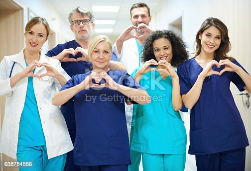 istock Group of doctors with heart symbol 638754586