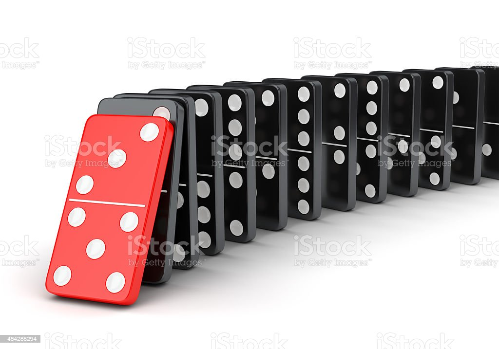 Group of dominoes in a row stock photo