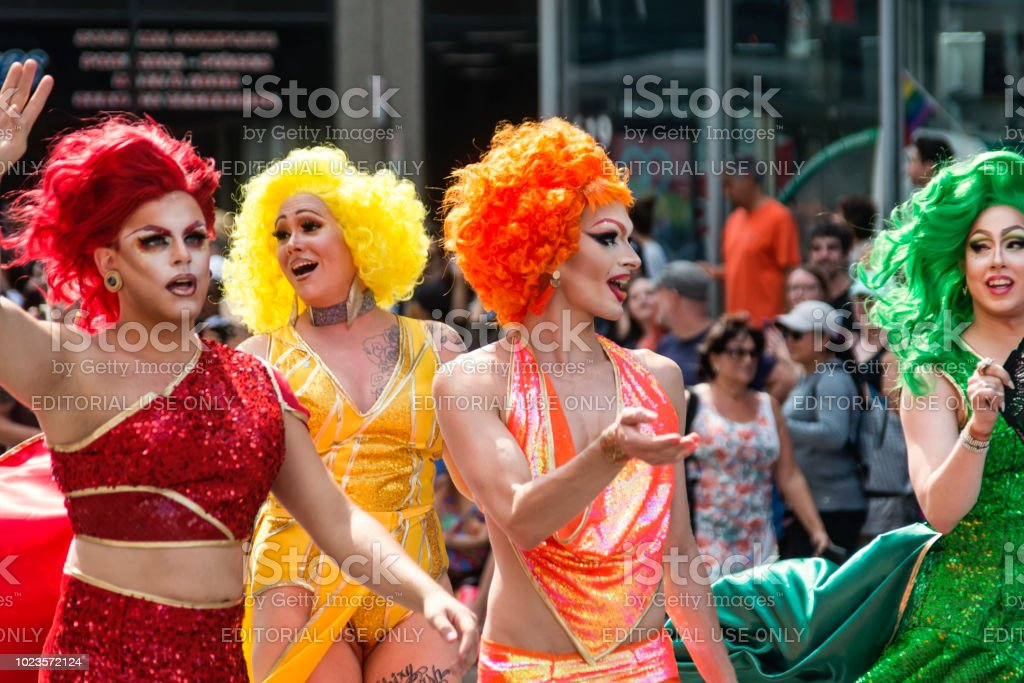 Group of drag queen participants of LGBTQ Pride Parade in Montreal. stock photo
