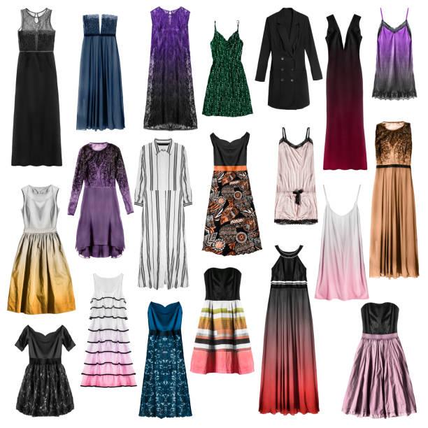 gruppe von kleidern isoliert - spitzen maxi stock-fotos und bilder