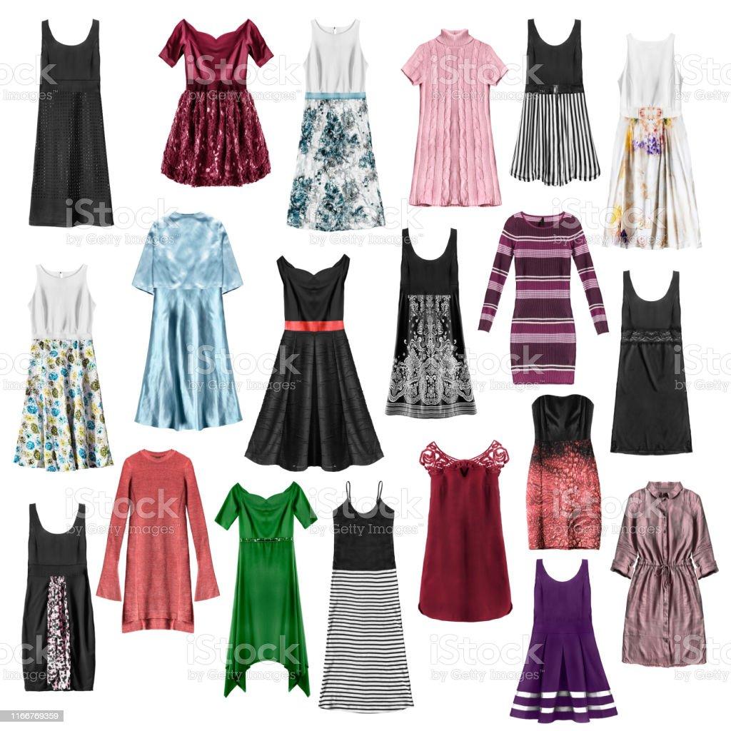 İzole edilmiş elbiseler grubu - Royalty-free Abiye Stok görsel