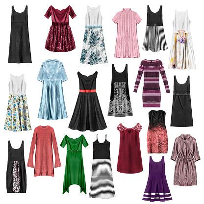 İzole Edilmiş Elbiseler Grubu Stok Fotoğraflar & Abiye'nin Daha Fazla Resimleri