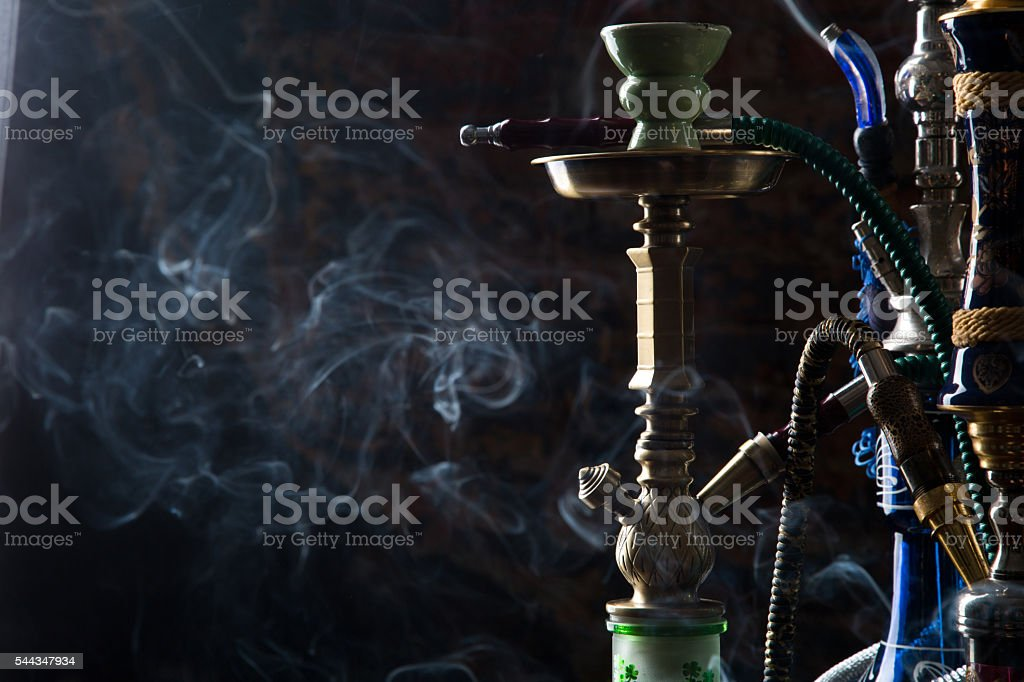 group of eastern hookahs stock photo