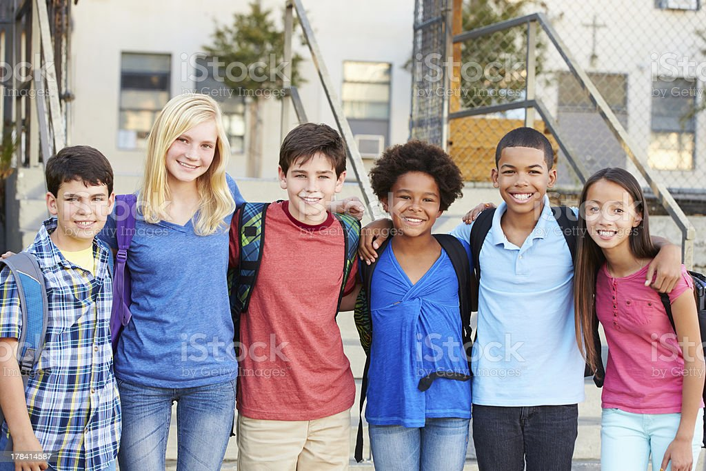 Group of Elementary Pupils Outside Classroom stock photo