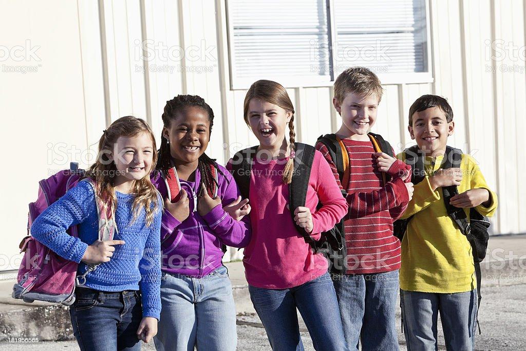 Group of elementary school children stock photo
