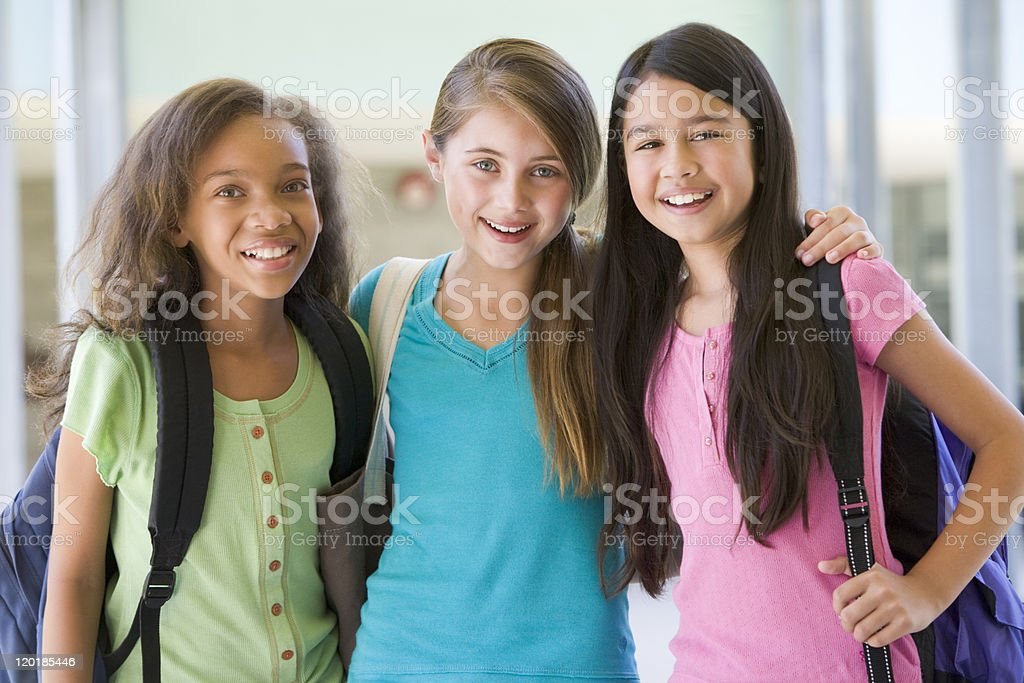 Group of elementary school friends stock photo