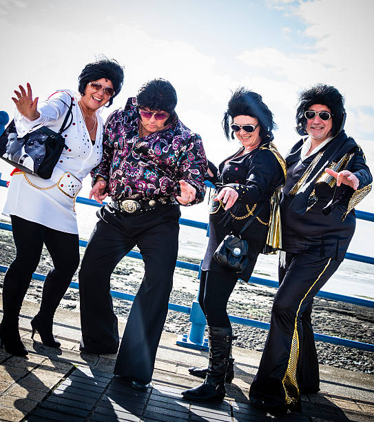 group of elvis impersonaters - elvis stock photos and pictures