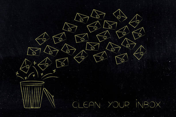 group of emails flying into the bin stock photo