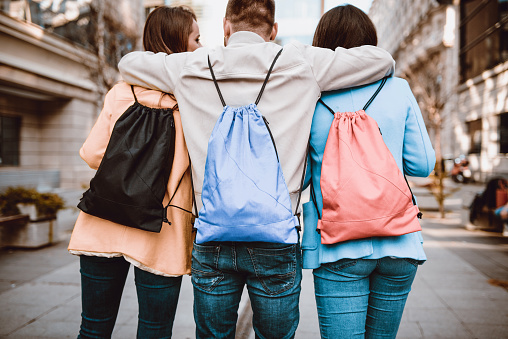 872670290 istock photo Group of Embraced Students with Backpacks Walking After School 929900690