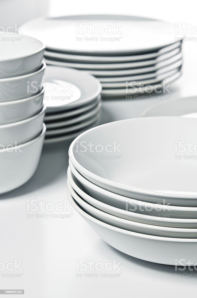 Group of empty clean washed dishes stock photo