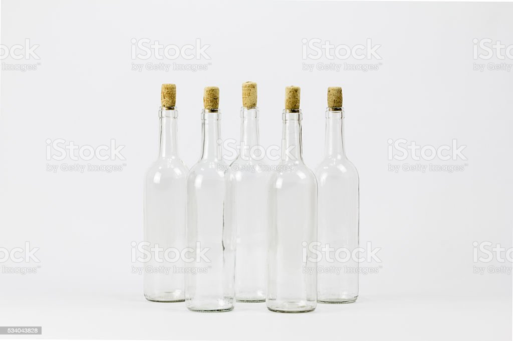 Group of empty glass bottle with cork stock photo