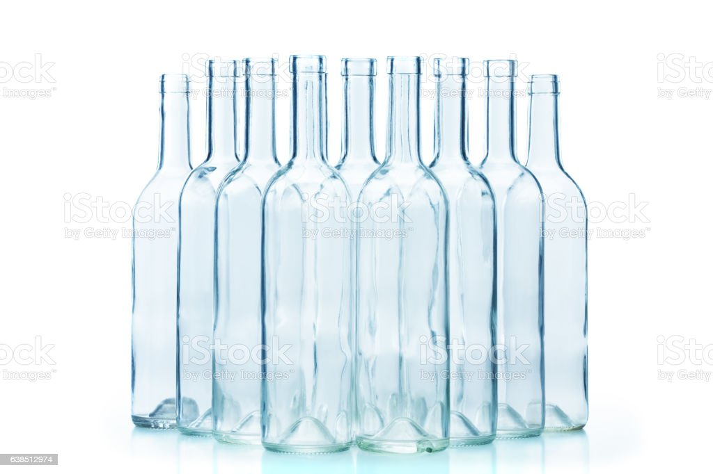 Group of empty glass bottles isolated on white stock photo