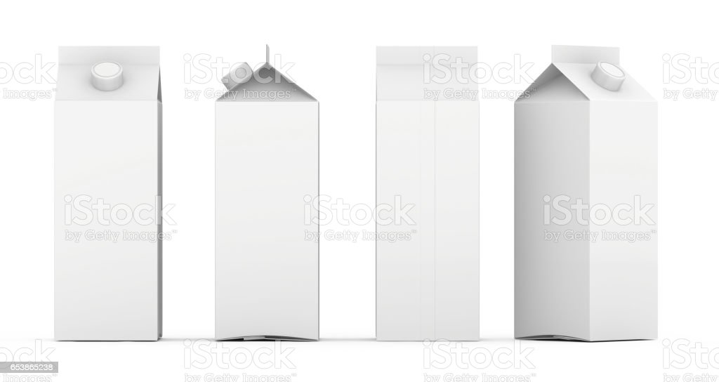Group of empty template boxes milk and juice with lid. Isolated on white. 3d rendering stock photo